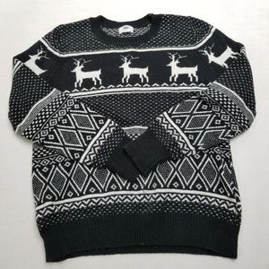 OLD NAVY Black & White Reindeer Christmas Sweater